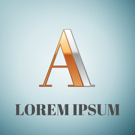 impossible: Vector graphic elegant silver and gold impossible font, symbol, alphabet, Letter A