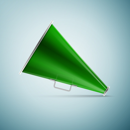 Green megaphone icon isolated on blue background. Vector Illustration