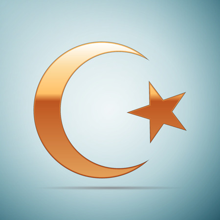 Gold Islam symbol icon on blue background . Vector Illustration