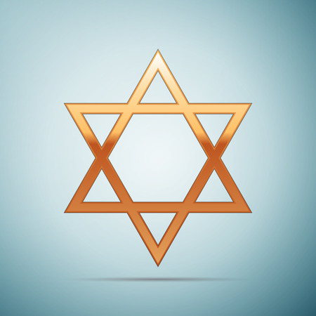 Gold Star of David icon on blue background . Vector Illustration