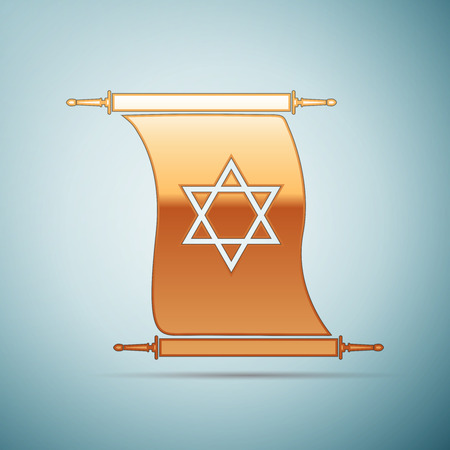 Gold Star of David on scroll icon for blue background . Vector Illustration