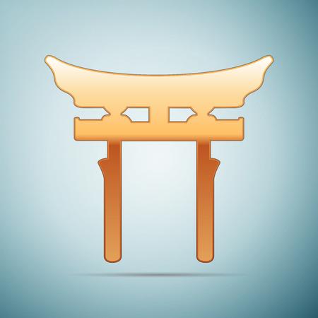 Gold Japan Gate. Torii gate icon on blue background. Vector Illustration