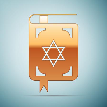 talit: Gold Jewish torah book icon on blue background . Vector Illustration
