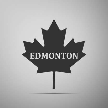 edmonton: Canadian maple leaf with city name Edmonton flat icon on grey background. Vector Illustration