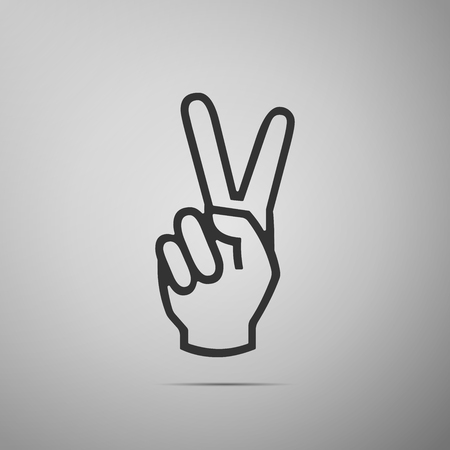 Victory hand sign icon. Hand showing two finger flat icon on grey background. Vector Illustration 写真素材