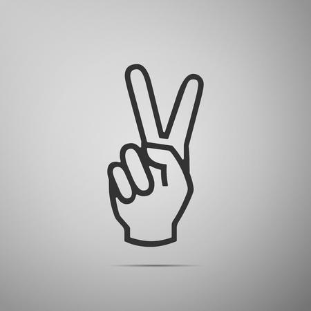 Icona del segno della mano di vittoria. Passi la mostra dell'icona piana di due dita su fondo grigio. Illustrazione vettoriale