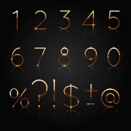 Golden numbers. Set of golden numbers and punctuation marks isolated on black background. Vector Illustration