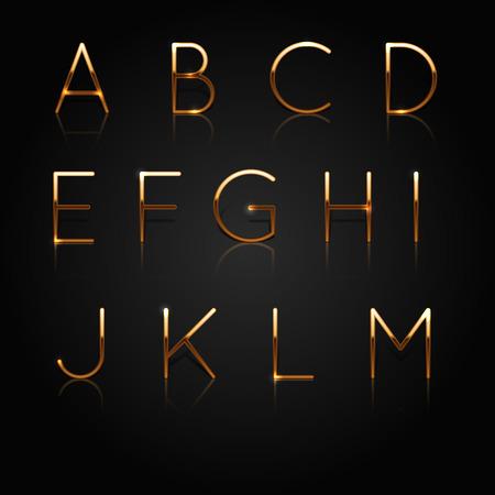 황금 알파벳입니다. 검은 배경에 고립 황금 편지의 집합입니다. 벡터 일러스트 레이션