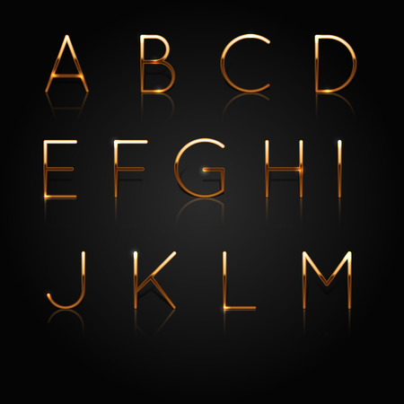 Golden alphabet. Set of golden letters isolated on black background. Vector Illustration