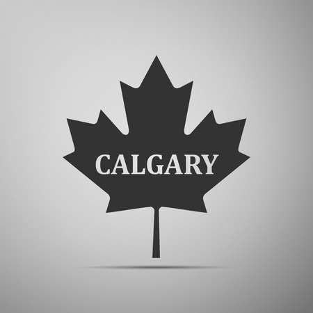 Canadian maple leaf with city name Calgary flat icon on grey background. Vector Illustration Stock Photo