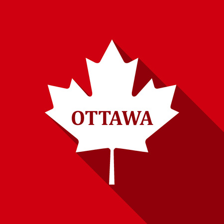 canadian flag: Ottawa flat icon with long shadow. Vector Illustration Illustration