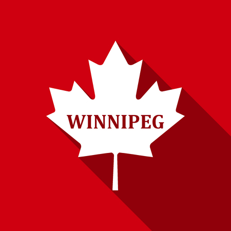 Canadian maple leaf with city name Winnipeg flat icon with long shadow. Vector Illustration