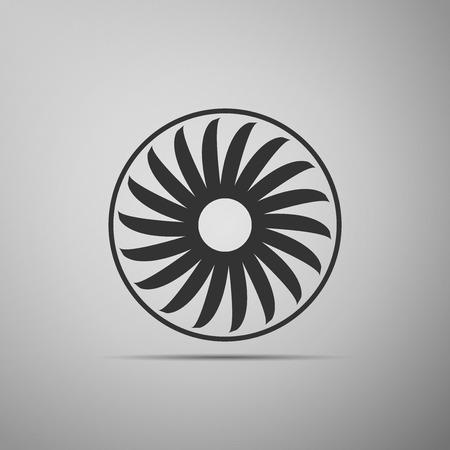 Ventilation sign icon. Ventilator symbol flat icon on grey background. Vector Illustration