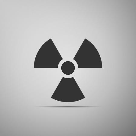irradiation: Radiation symbol flat icon on grey background. Vector Illustration Illustration