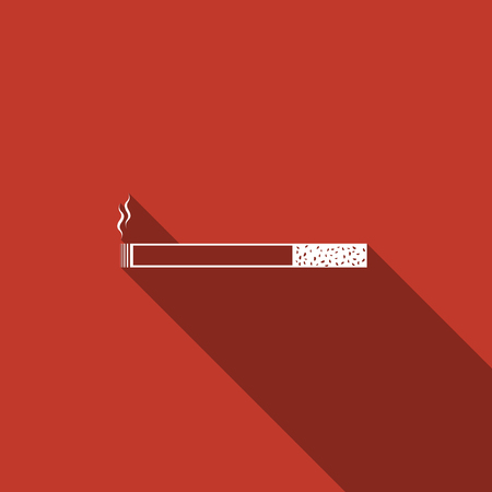 Cigarette icon. Tobacco sign. Smoking symbol flat icon with long shadow. Vector Illustration Illustration