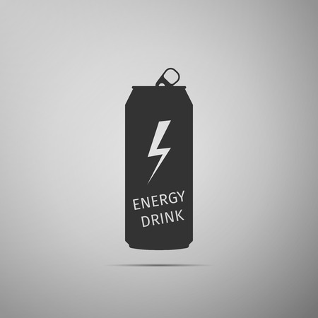 Energy drink flat icon on grey background. Vector Illustration