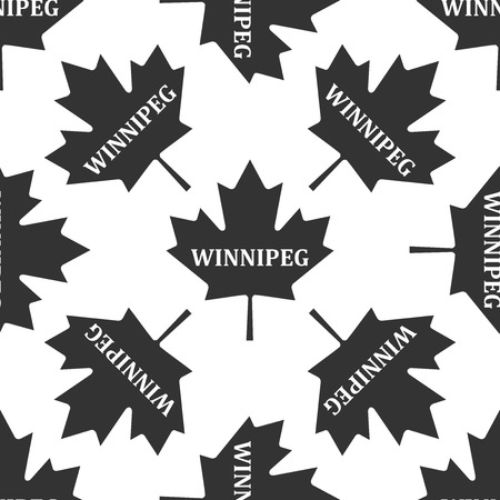 Canadian maple leaf with city name Winnipeg icon seamless pattern on white background. Vector Illustration Illustration