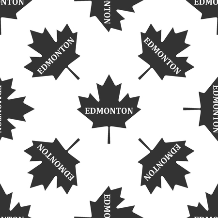 edmonton: Canadian maple leaf with city name Edmonton icon seamless pattern on white background. Vector Illustration