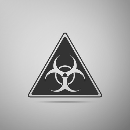 the bacteria signal: Triangle sign with a Biohazard sign flat icon on grey background. Vector Illustration Illustration