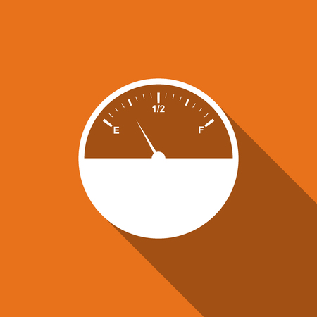 filling station: Fuel gauge flat icon with long shadow. Vector Illustration