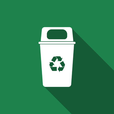 Recycle bin flat icon with long shadow. Vector Illustration 版權商用圖片 - 74567383