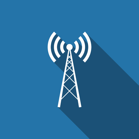Antenna flat icon with long shadow. Vector Illustration