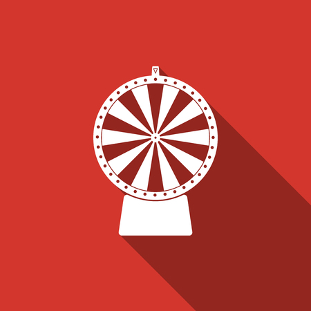 wheel of fortune: Lucky wheel flat icon with long shadow. Vector Illustration