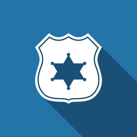 patrol: Police badge flat icon with long shadow. Vector Illustration