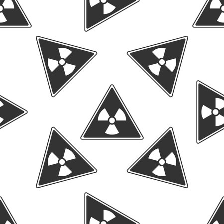 atomic symbol: Triangle sign with a radiation symbol icon seamless pattern on white background. Illustration