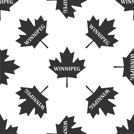 Canadian maple leaf with city name Winnipeg icon seamless pattern on white background.