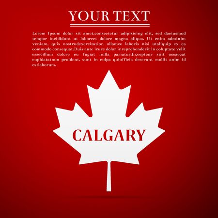 Canadian maple leaf with city name Calgary flat icon on red background. Vector Illustration