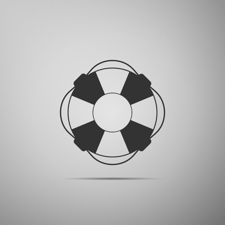 Lifebuoy flat icon on grey background. Lifebelt symbol. Vector Illustration