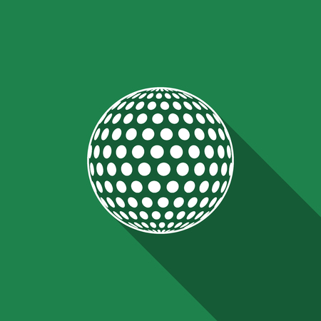 dimple: Golf ball flat icon with long shadow. Vector Illustration.