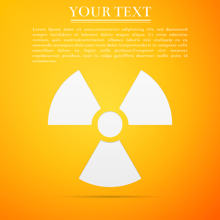 Radiation symbol flat icon on yellow background. Vector Illustration. Illustration