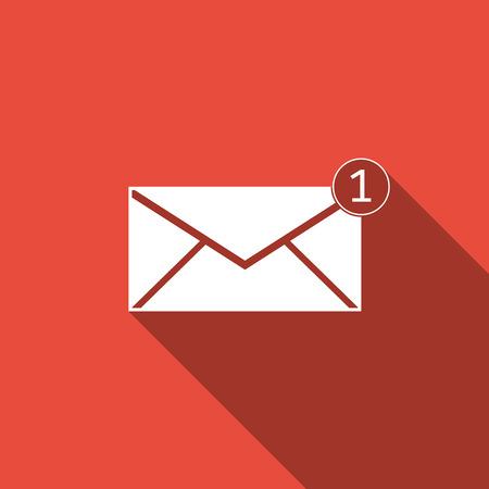 받은 메시지 개념. 새 메시지, 이메일 수신 메시지, SMS. 메일 배달 서비스. 긴 그림자와 함께 봉투 플랫 아이콘입니다. 벡터 일러스트 레이 션.