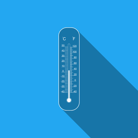 Celsius and fahrenheit meteorology thermometers measuring heat and cold flat icon with long shadow. Thermometer equipment showing hot or cold weather. Vector Illustration.