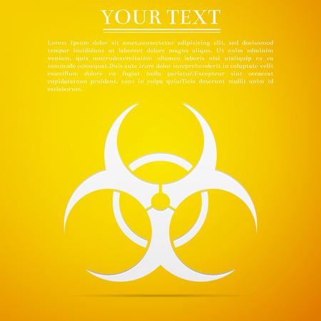 riesgo biologico: Biohazard símbolo icono plano sobre fondo amarillo. Ilustración vectorial Vectores