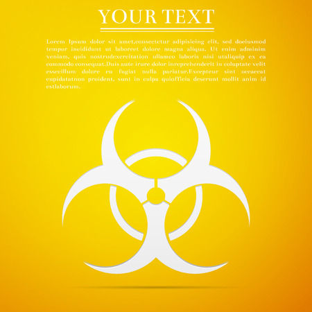 Biohazard symbol flat icon on yellow background. Vector Illustration Illustration