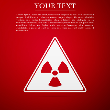 atomic symbol: Triangle Sign with a radiation symbol flat icon on red background. Vector Illustration