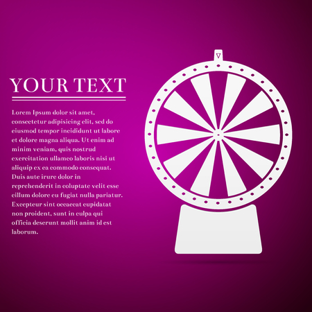 Lucky wheel flat icon on purple background. Vector Illustration