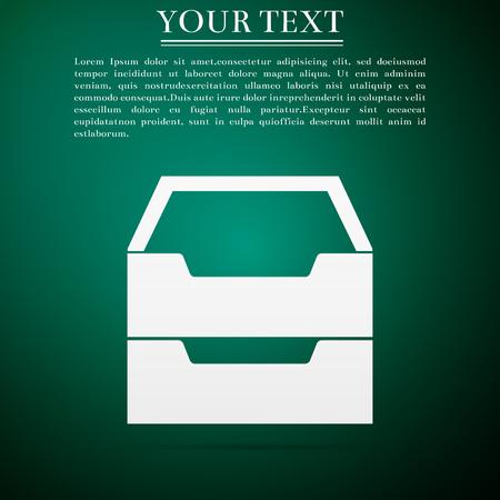 mobile apps: Document inbox flat icon on green background. Vector Illustration Illustration
