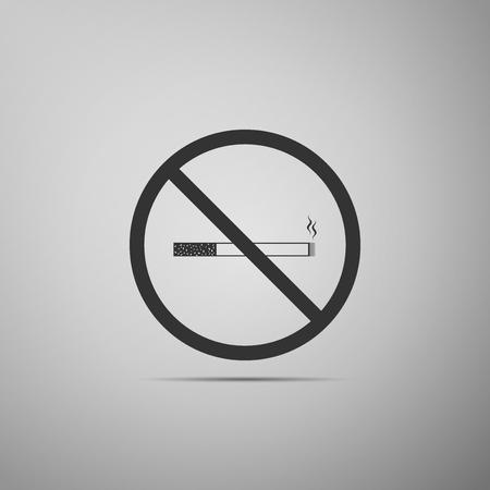 pernicious habit: No Smoking sign icon. Cigarette symbol icon isolated on grey background. Flat design. Vector Illustration Illustration