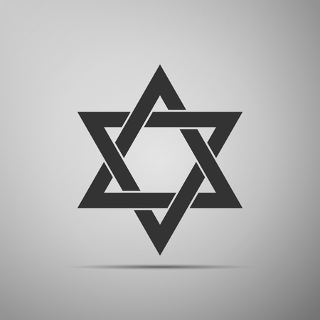 Star of David icon isolated on grey background. Flat design. Vector Illustration