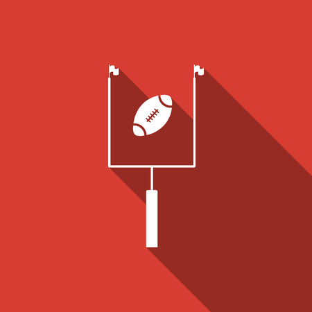 American football with goal post icon isolated with long shadow. Flat design. Vector Illustration