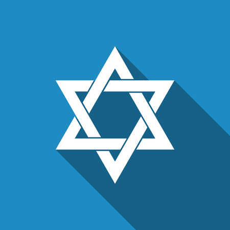 chanukkah: Star of David icon isolated with long shadow. Flat design. Vector Illustration
