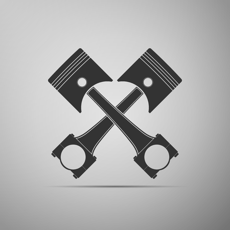Two crossed engine pistons icon isolated on grey background. Flat design. Vector Illustration