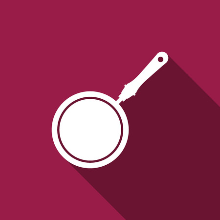 Frying pan icon isolated with long shadow. Flat design. Vector Illustration