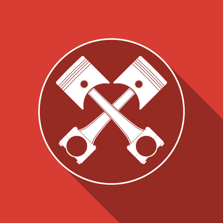 fuel rod: Two crossed engine pistons icon isolated with long shadow. Flat design. Vector Illustration.