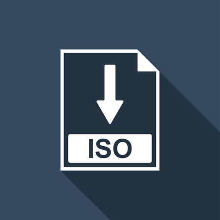 ISO file document icon. Download ISO button icon isolated with long shadow. Flat design. Vector Illustration Illustration