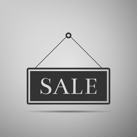 Hanging sign with text Sale icon isolated on grey background. Flat design. Vector Illustration